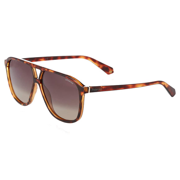 Polaroid PLD-6097S-086-LA-58 Rectangle Sunglasses Size - 58 Tortoise /Brown