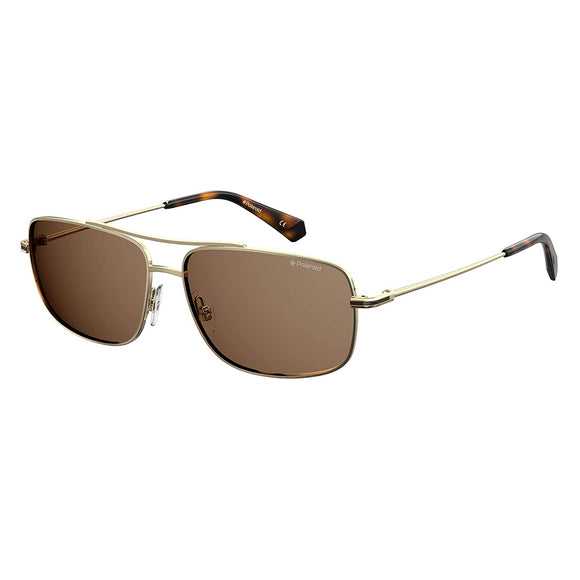 Polaroid PLD-6107SX-J5G-SP-60 Rectangle Sunglasses Size - 60 Gold / Brown