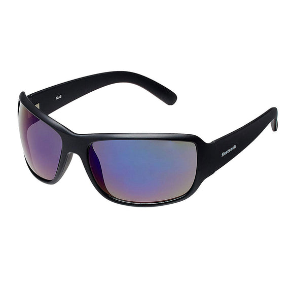 Fastrack P294BU2 Sports Sunglasses Size - 63 Black / Blue Mirrored