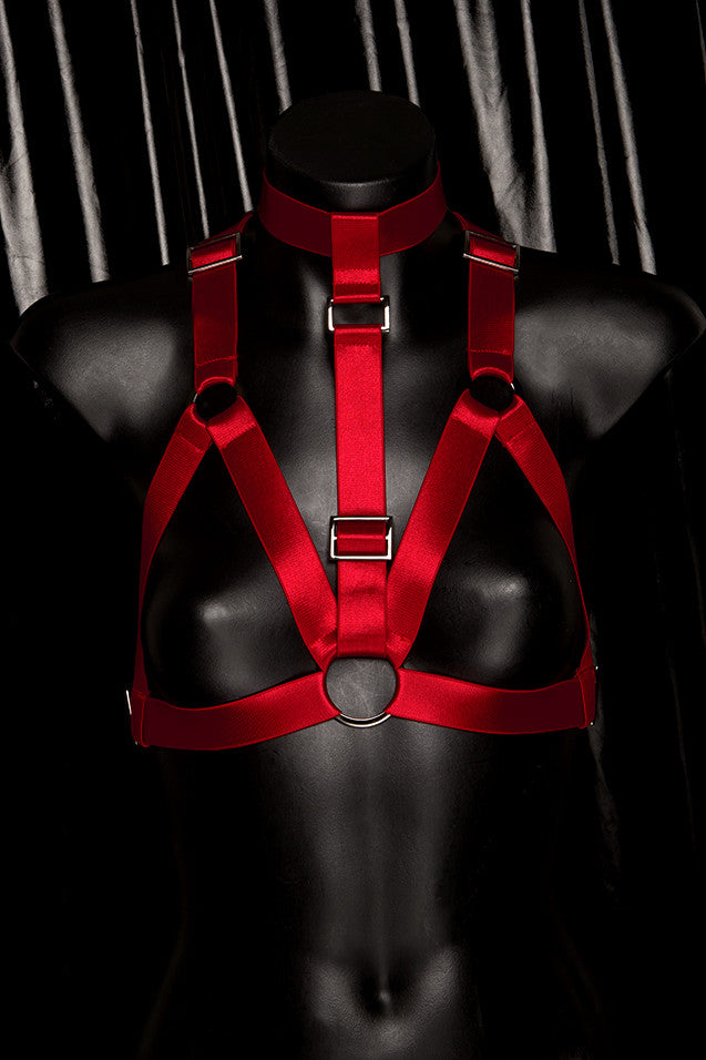 "*BLOODBATH* RED ""BONDAGE BARBIE"" harness"