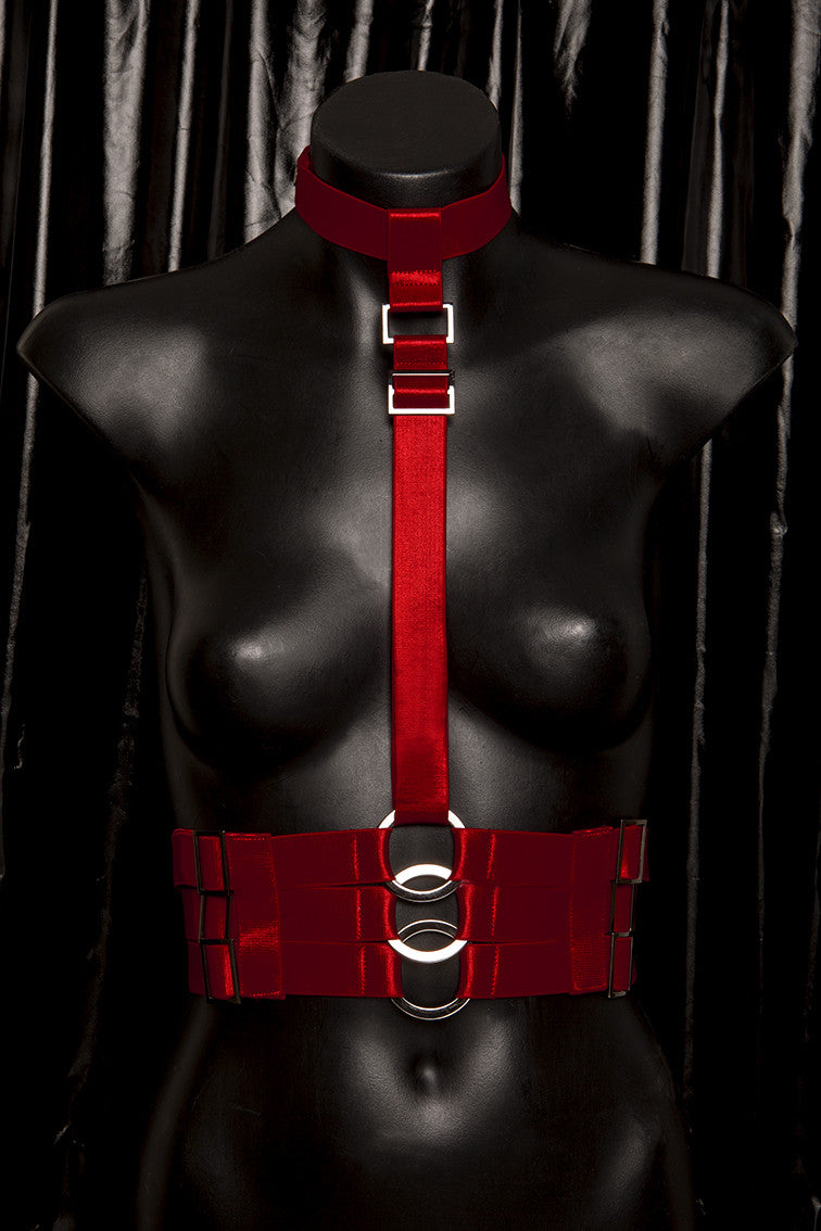 "*BLOODBATH* RED ""SIREN"" caged bust harness"