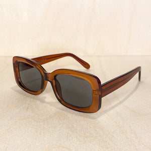Rectangle Frame Sunglasses - Transparent Brown