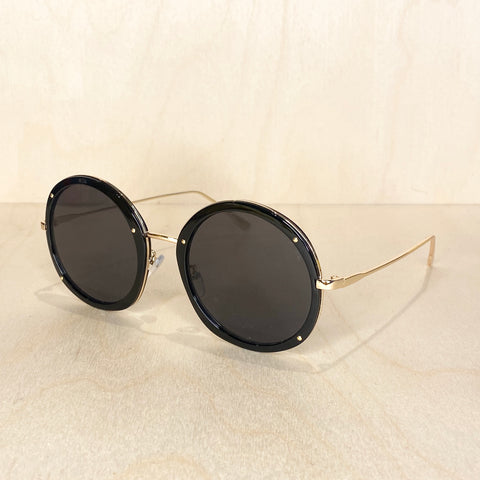 Round Metal Frame Sunglasses - Black