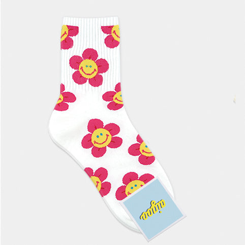 Smiley Flower Ankle Socks