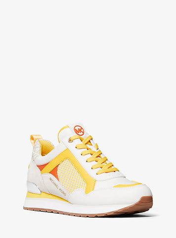 MICHAEL KORS Wilma Mixed-media Trainer In Yellow