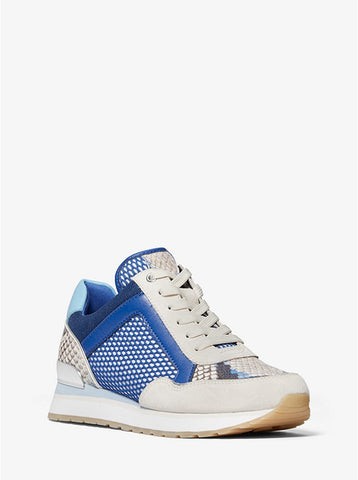 Michael Kors Maddy mixed-media trainer electric blue - 100% Piel de Pitón
