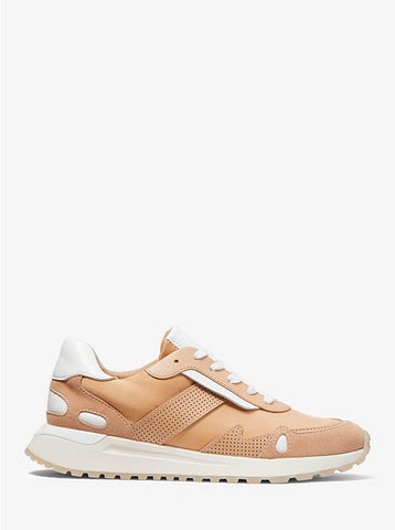 Michael Kors Monroe two tone canvas and leather trainer color butternut