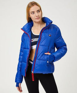Tommy Hilfiger Lapis Blue Flag Patch Cropped Puffer Jacket