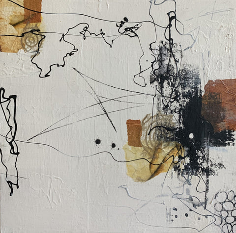 Mixed media collage artwork titled Pathways II