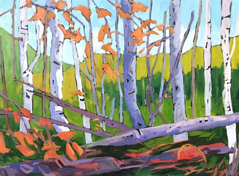Oil artwork titled Fall Birches