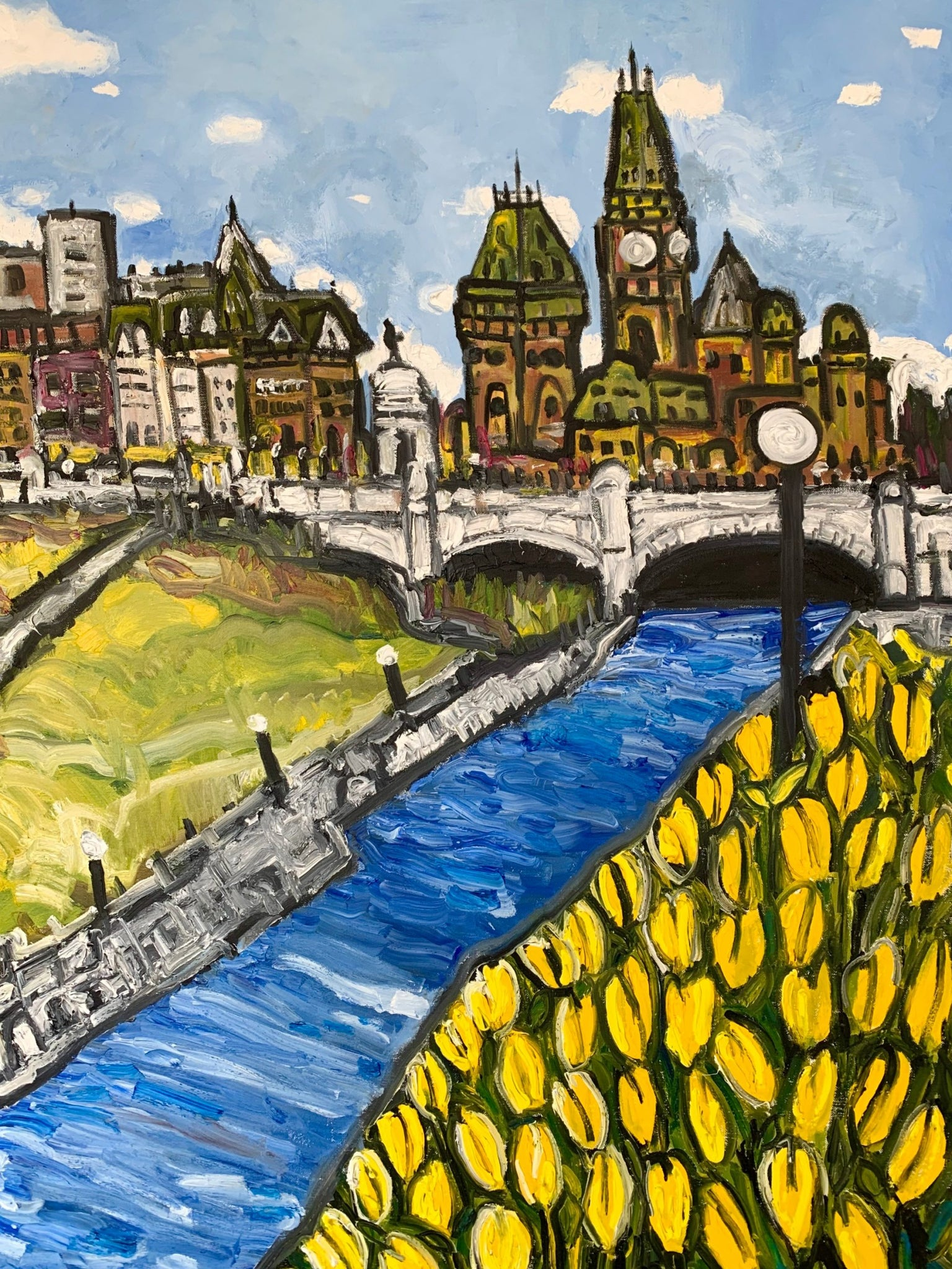 Oil artwork titled Tulips along the Rideau Canal