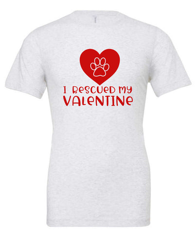 I Rescued My Valentine Heart Pawprint Short Sleeve T-Shirt