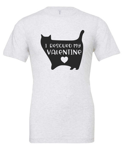 I Rescued My Valentine Cat Short Sleeve T-Shirt