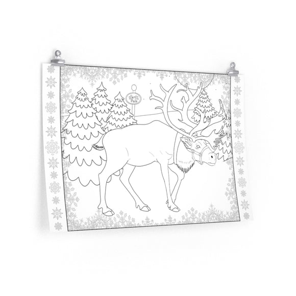 Coloring Poster: Reindeer in the North Pole