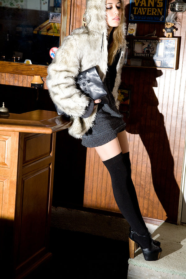 Fashion Toast's Rumi Neely wears Plush Fleece-Lined Thigh Highs