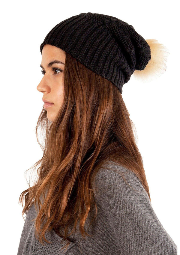 Fleece-Lined Fur Pom-Pom Hat