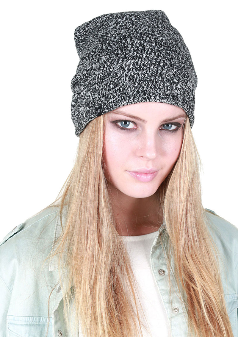 Fleece-Lined Marled Slouchy Beanie