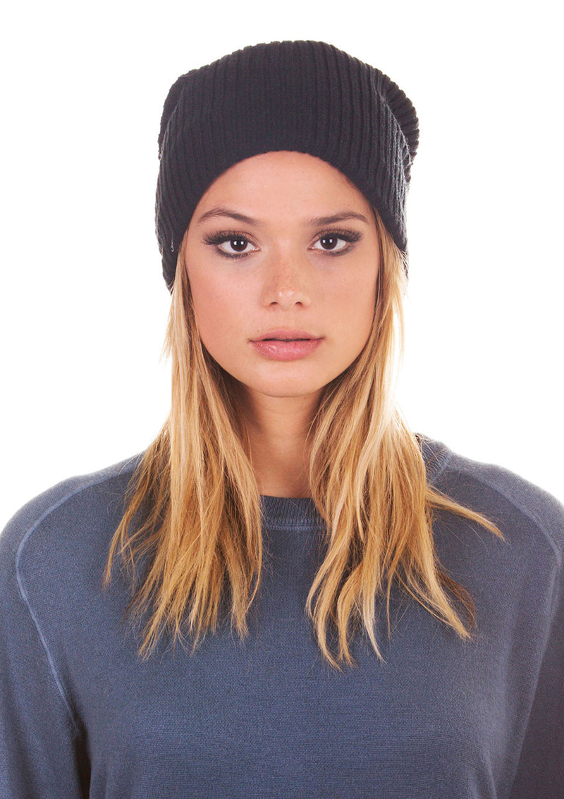Fleece-Lined Ribbed Beanie