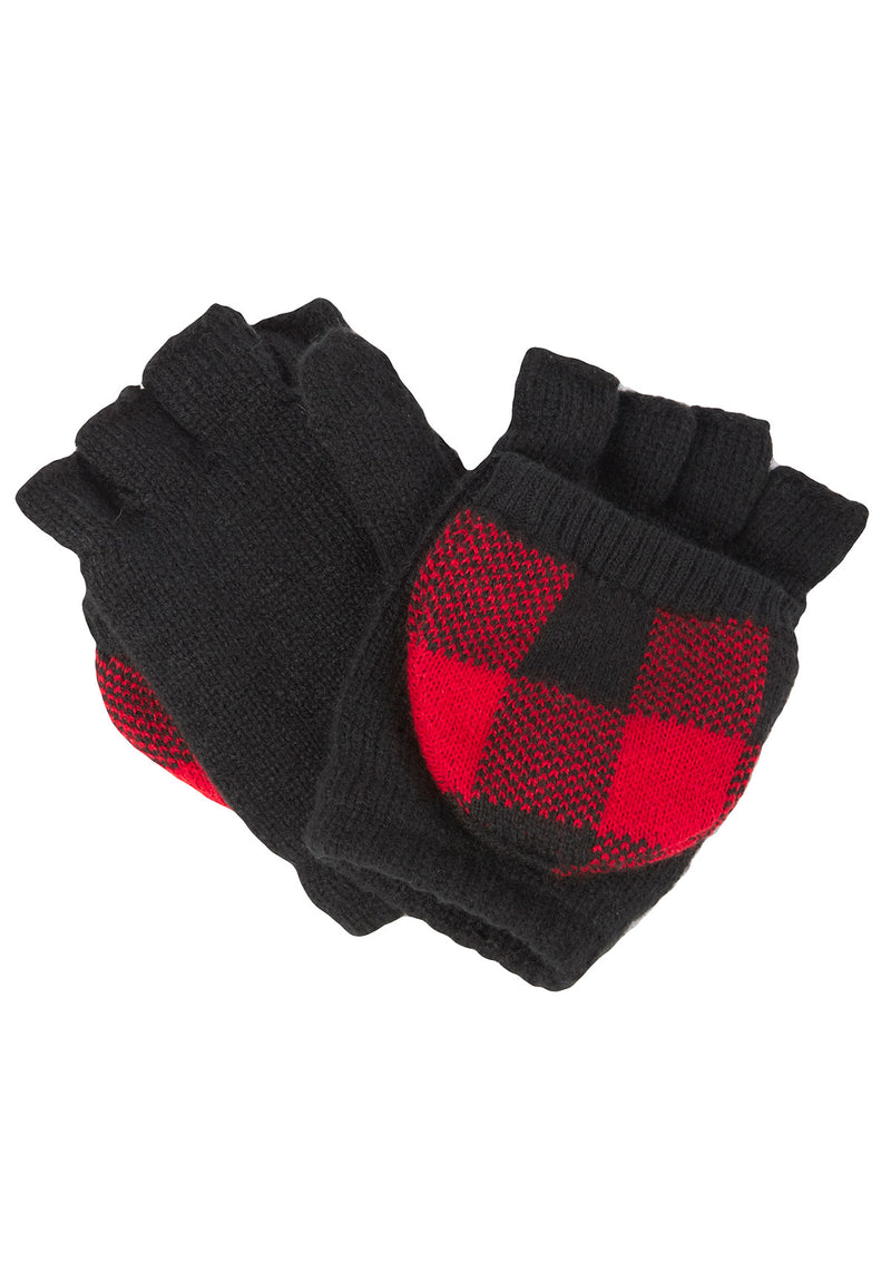 Fleece-Lined Plaid Texting Mittens