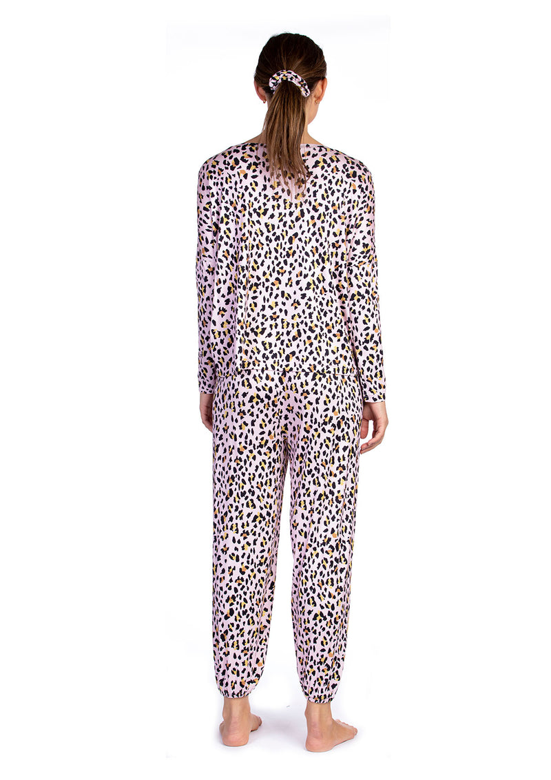 Ultra Soft Cheetah Jersey Pajama + Scrunchie Set