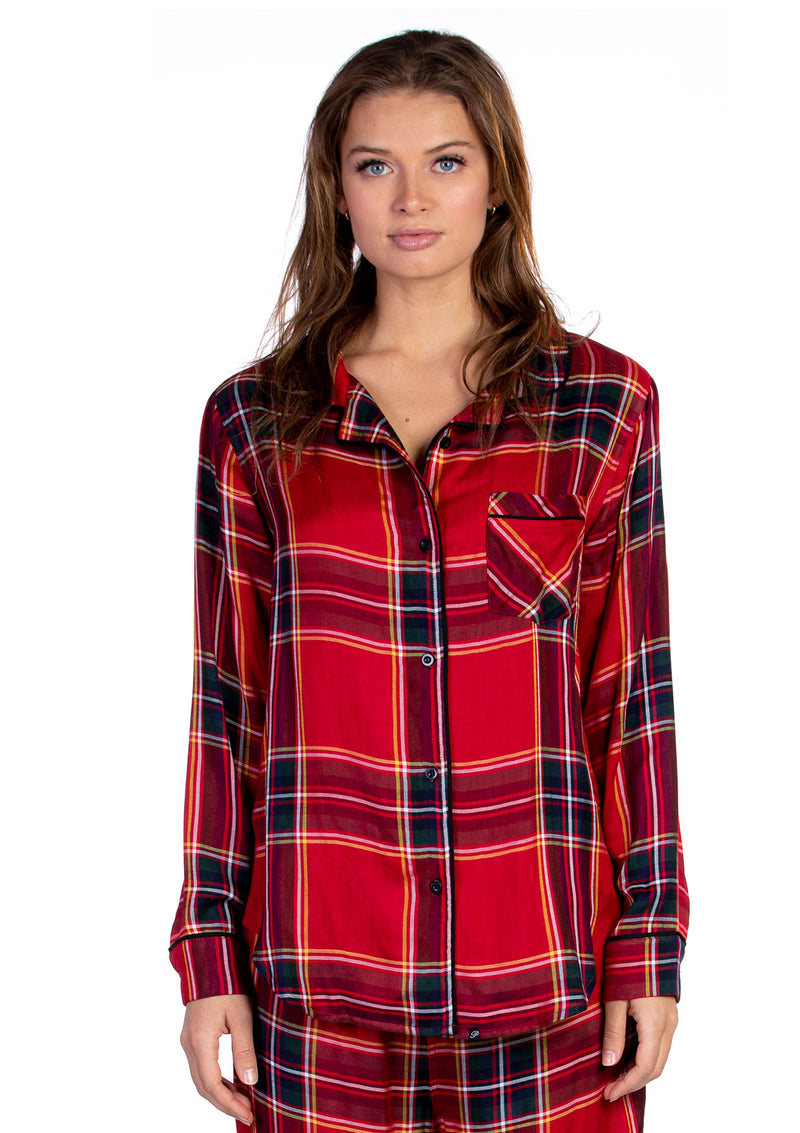 Ultra Soft Woven Plaid Pajama + Scrunchie Set