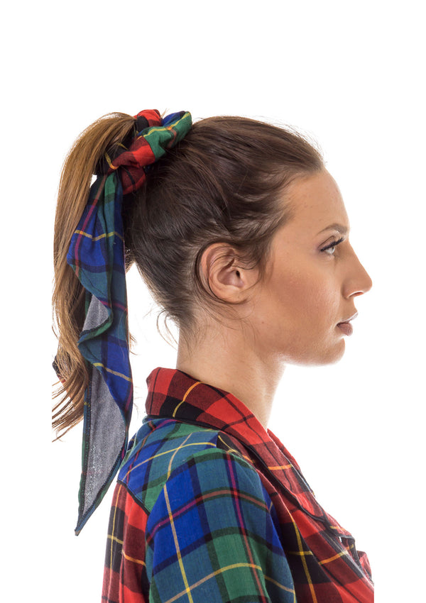 Plaid Patchwork Scrunchie w/Bandana Tie