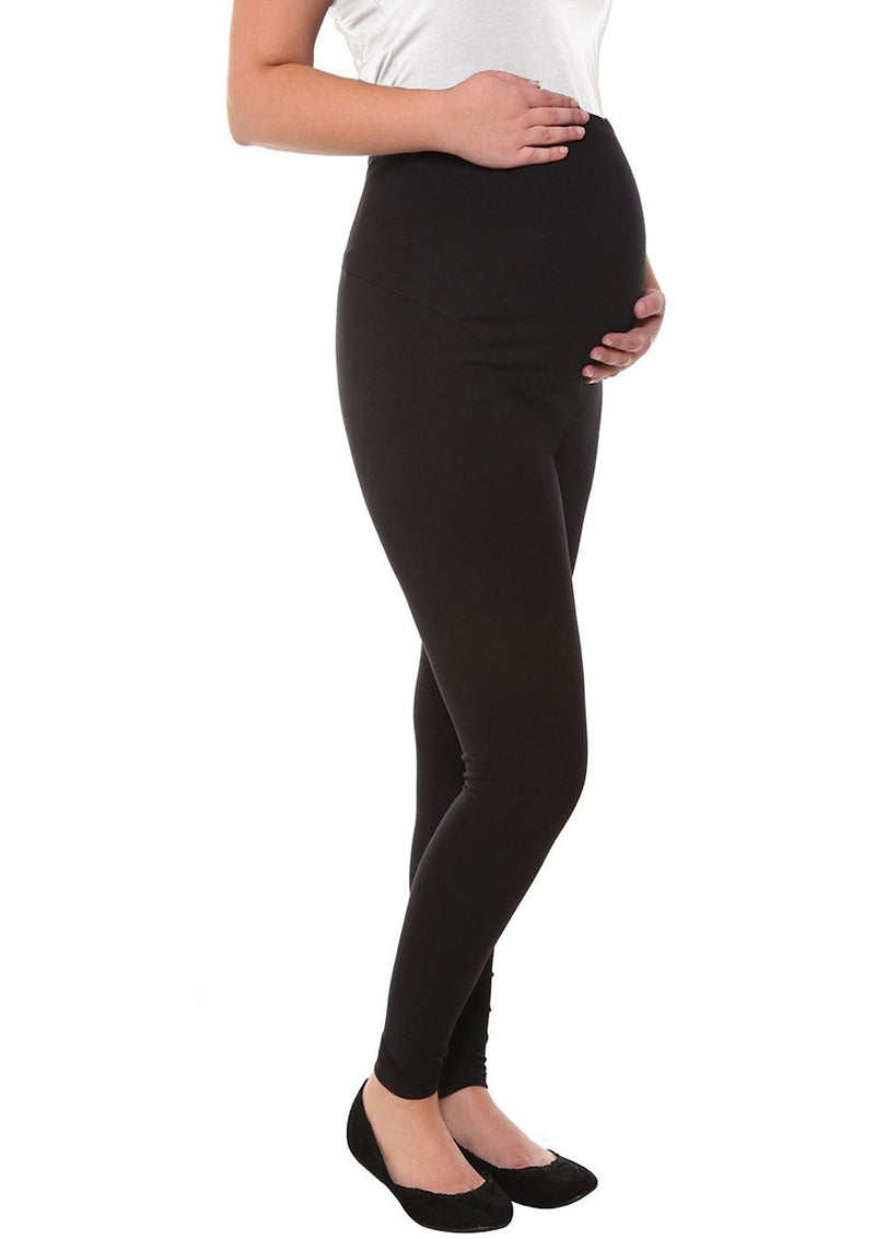 Maternity Fleece-Lined Over Belly Cotton Leggings