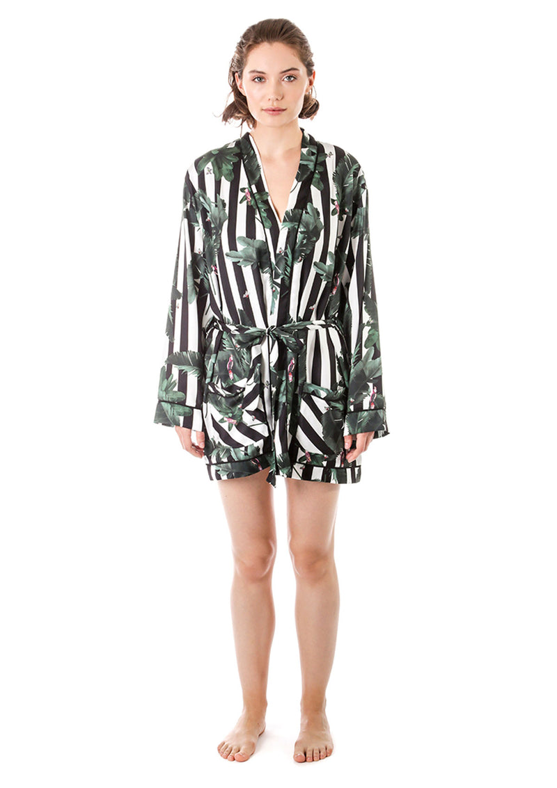 Silky Jungle Striped Pajama Robe