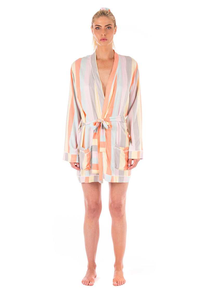 Ultra Soft Rainbow Stripe Robe + Scrunchie Set