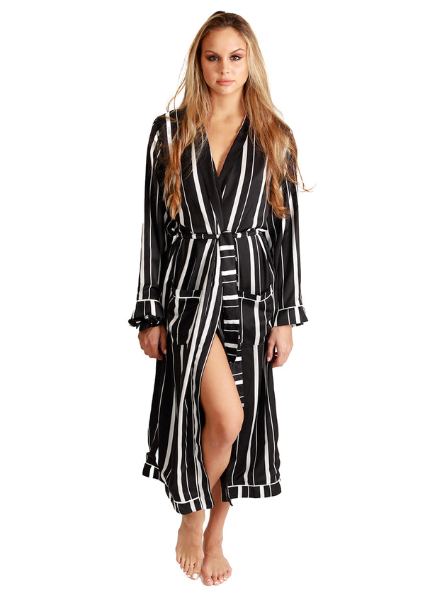 Stripe Pajama Maxi Robe + Scrunchie Set