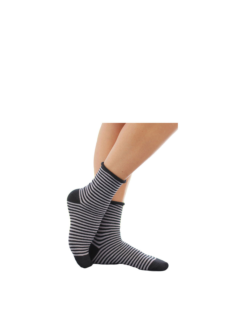Grey Striped Thin Rolled Fleece Socks