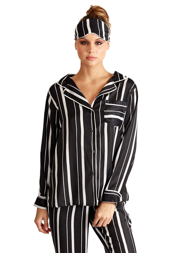 Stripe Pajama + Eyemask Set