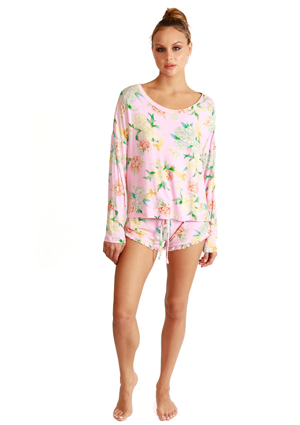 Ultra Soft Pink Floral Pajama Set