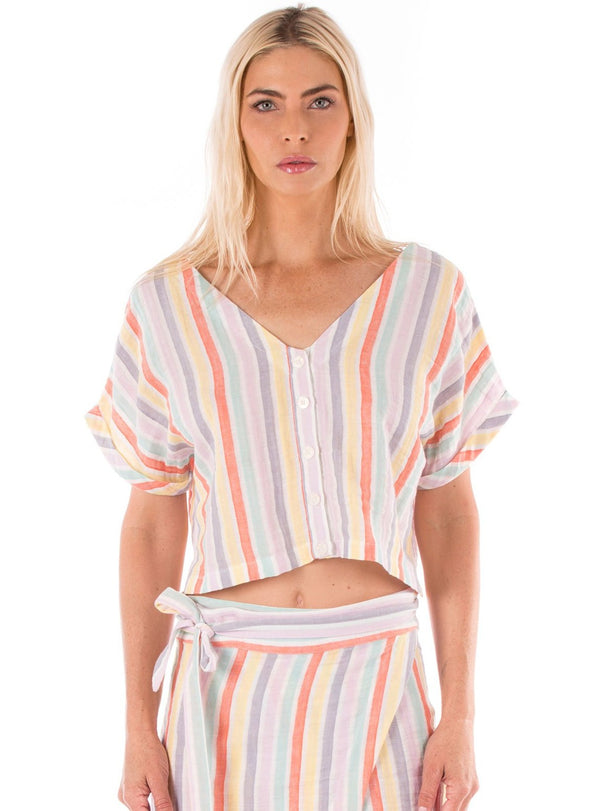 Striped Linen Cropped Button Down