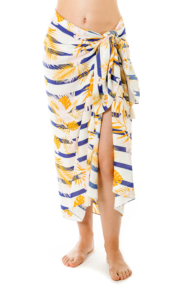 Striped Palm Print Pareo w/ Tassels