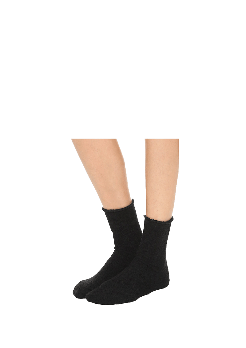 Black Rolled Fleece Socks