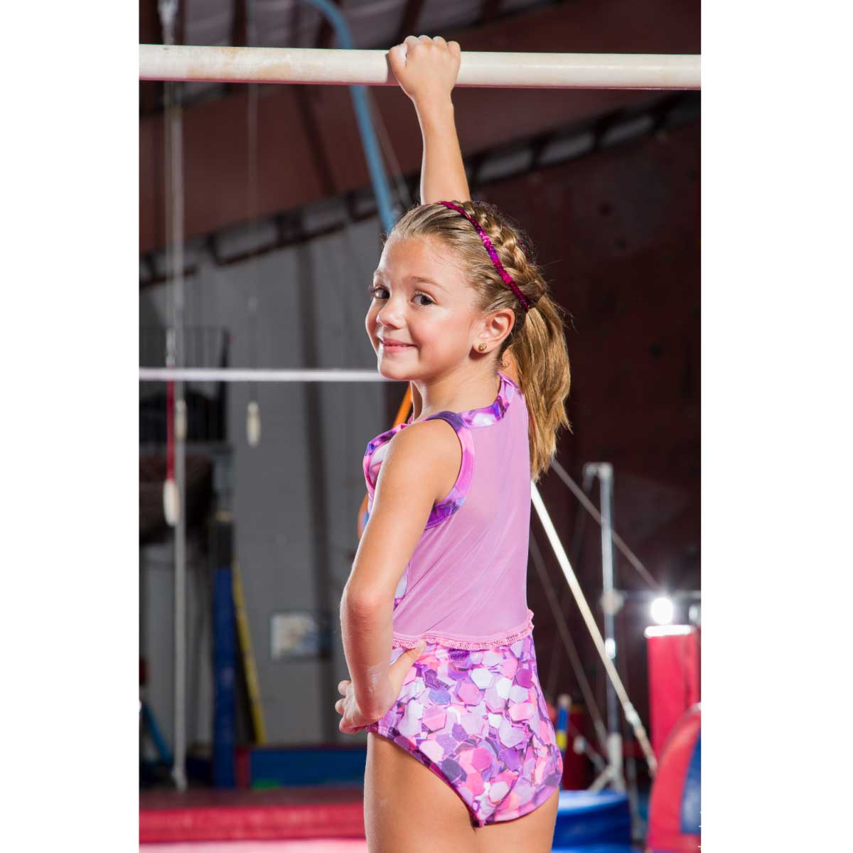 DEDICATION - PINK SPANGLE TANK MESH LEOTARD