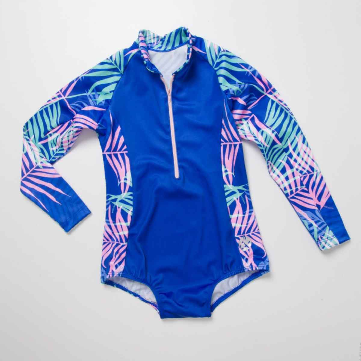 PINK PALMS LONG SLEEVE SWIMSUIT