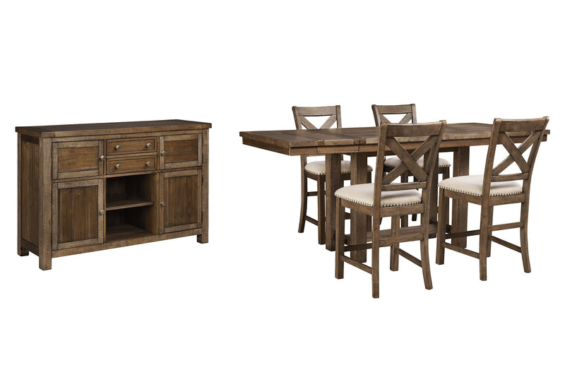 Moriville Signature Design 6-Piece Counter Height Dining Room Package