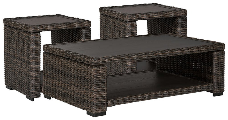 Grasson Lane Signature Design By Ashley 3-Piece Outdoor Occasional Table Set
