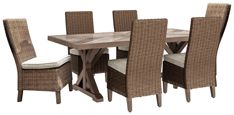 Beachcroft Signature Design Dining Tbale 7-Piece Outdoor Dining Set