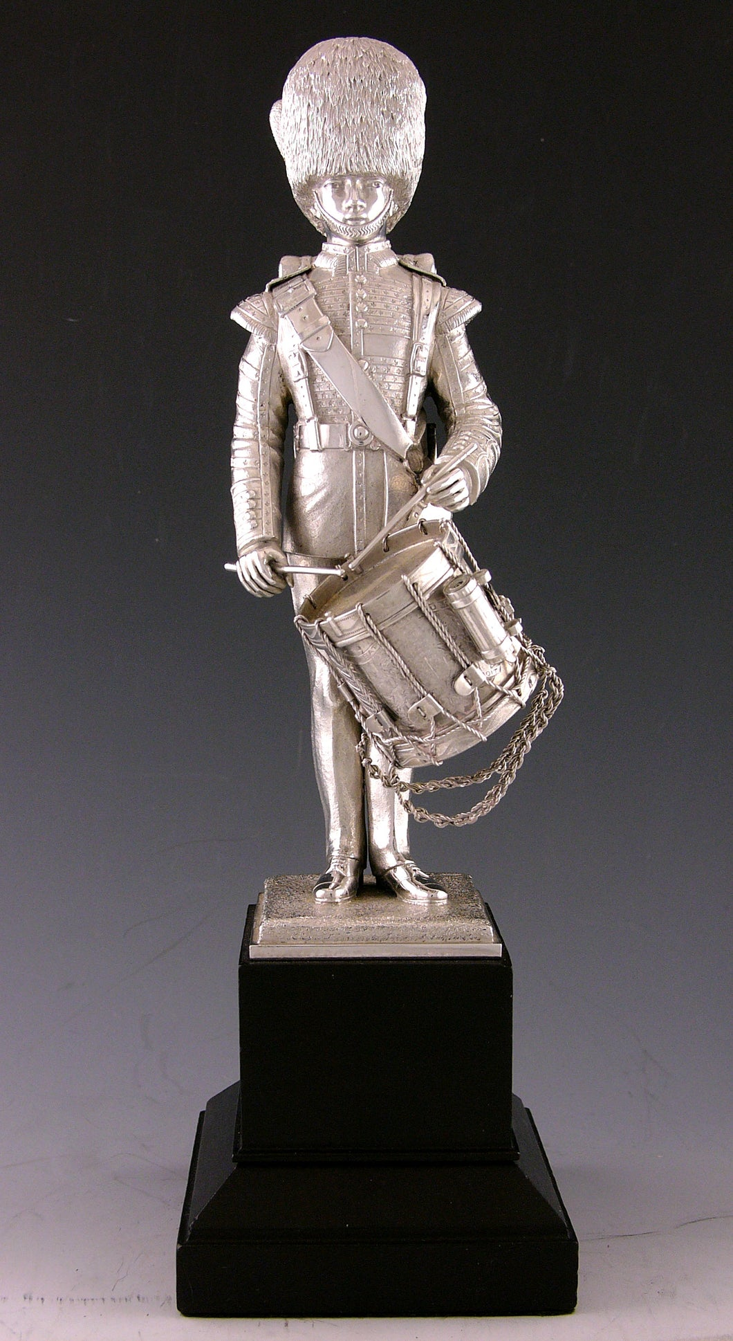 A George V Silver Regimental Presentation Figure of a Irish Guards Drummer by Carrington & Co., Hallmarked London 1933