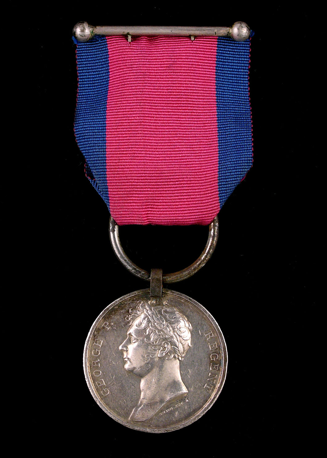 Waterloo Medal, 1815 (Ensign Charles Smith, 33rd Regiment of Foot) fitted with steel clip and ring suspension