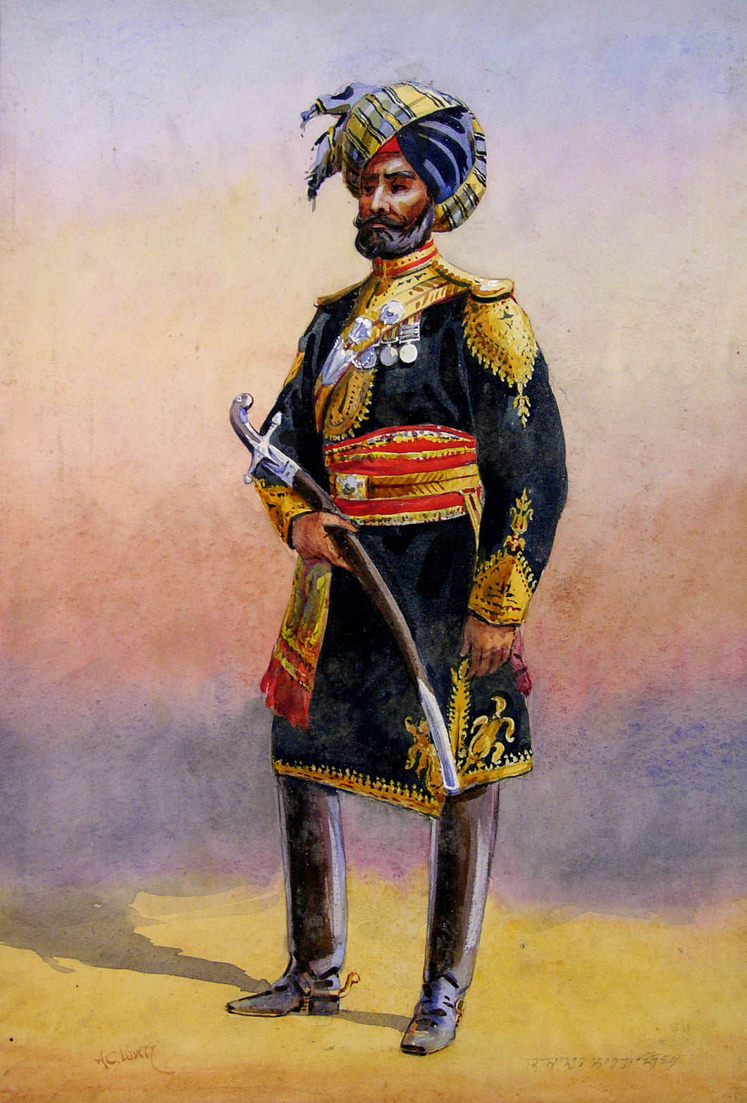 Indian Officer of 11th King Edward's Own Lancers (Probyn's Horse) by Major A.C. Lovett, cCirca 1910