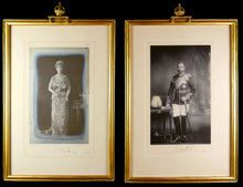 Load image into Gallery viewer, A Pair of Royal Presentation Portrait Photographs of King George V and Queen Mary, 1920