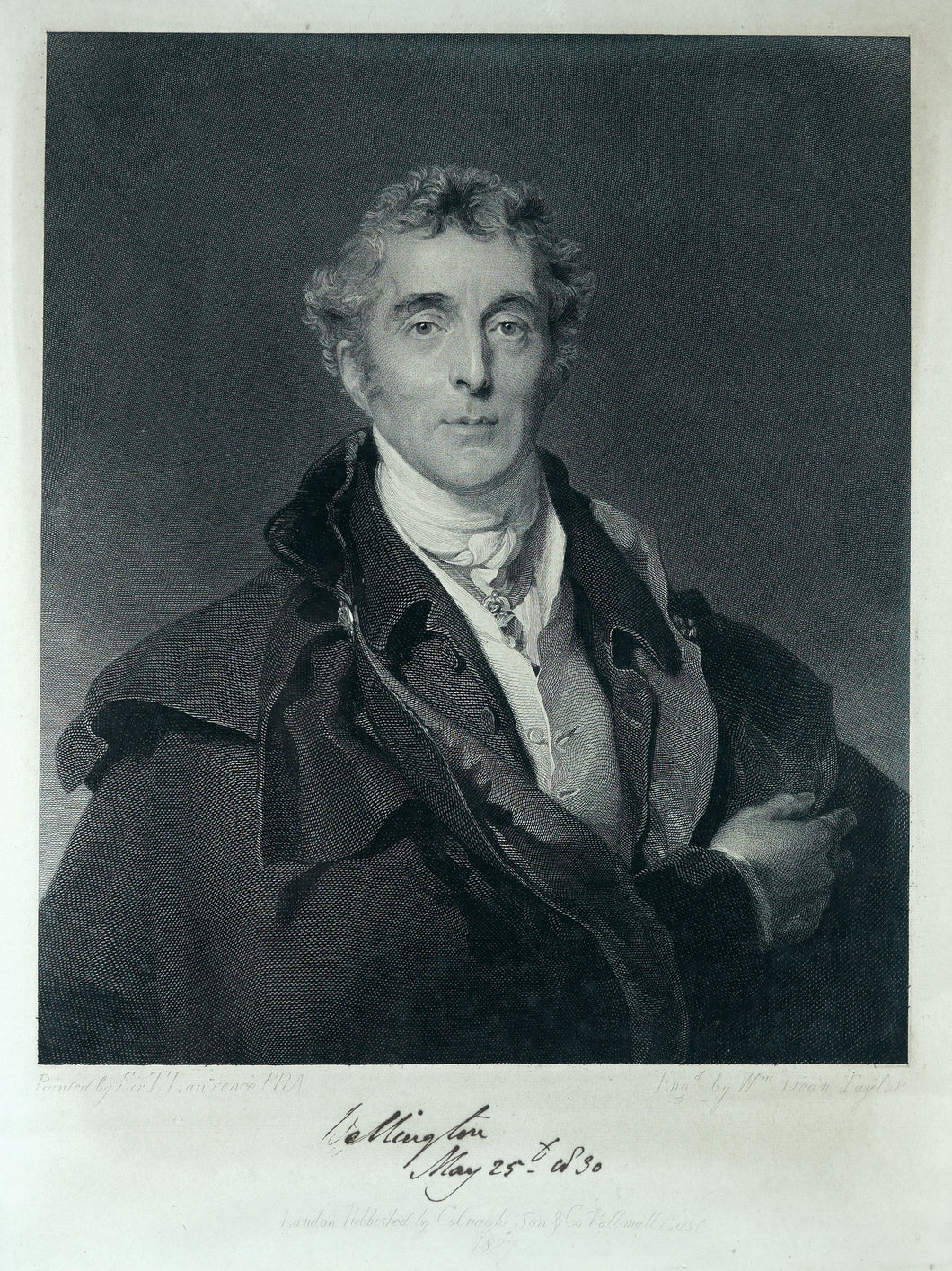 Autograph Signed Engraving of Arthur Wellesley, Duke of Wellington K.G., 1830