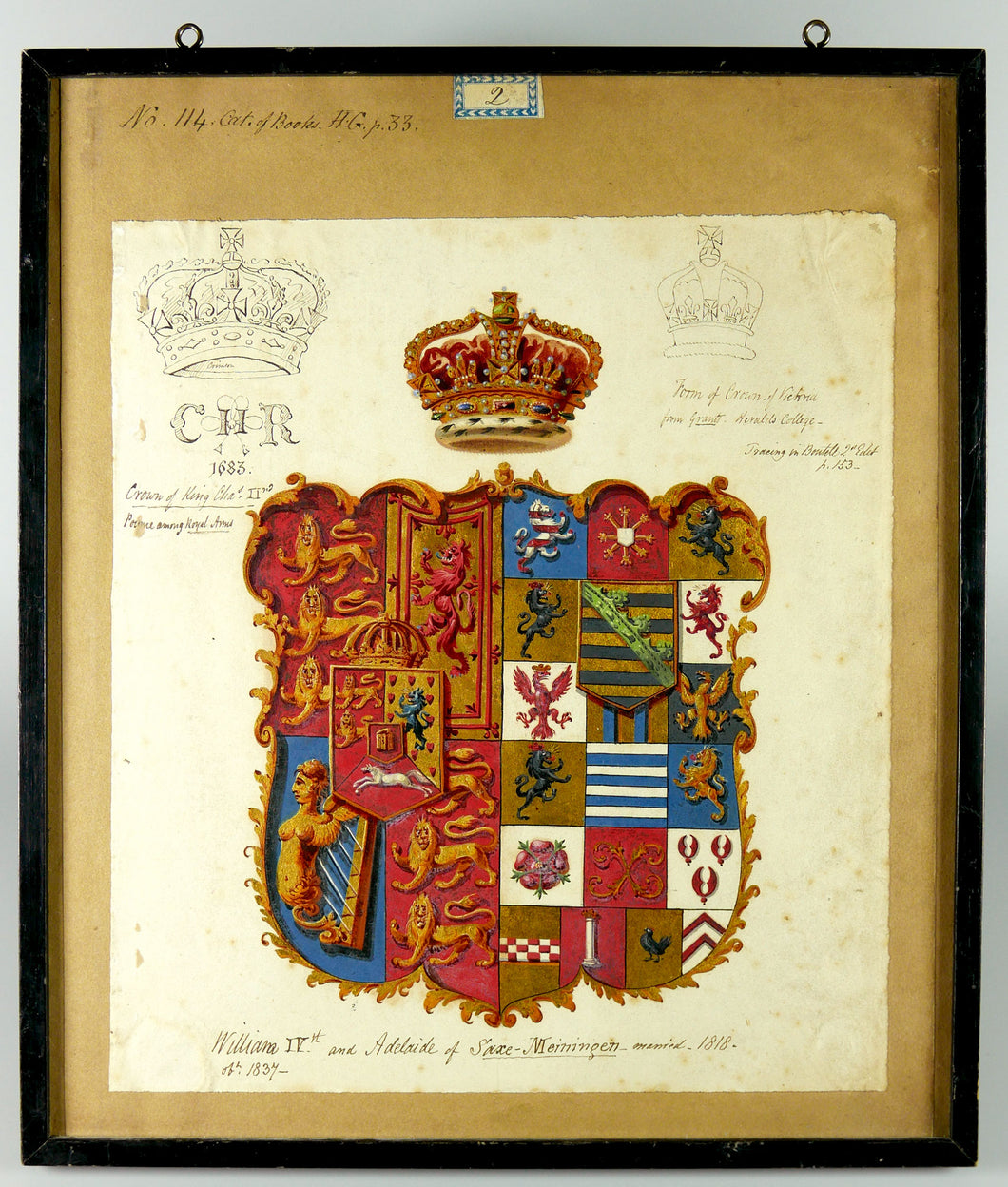 Royal Arms of King William IV and Queen Adelaide of Saxe-Menninger, Circa 1840