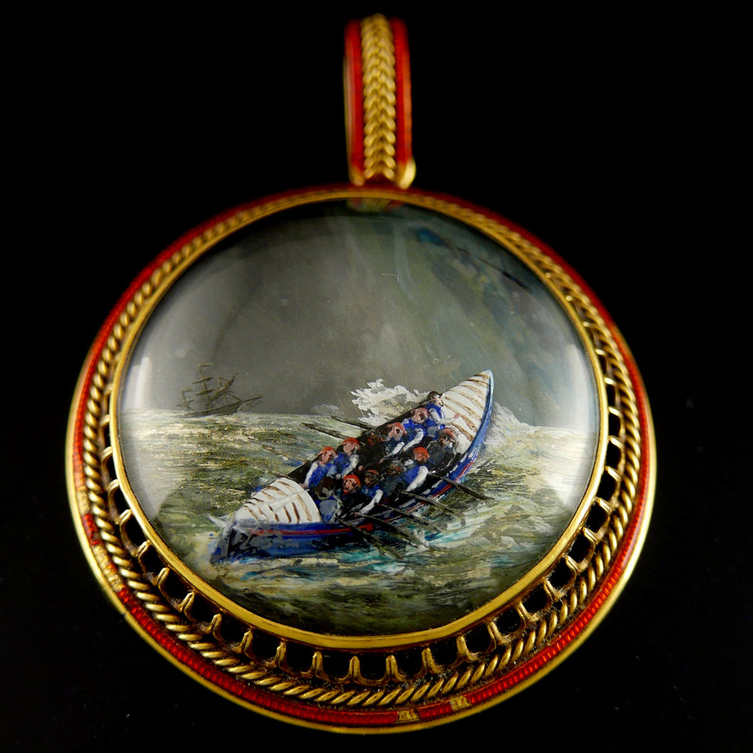 Royal National Lifeboat Institution - A Presentation Reverse Crystal Intaglio, 1882