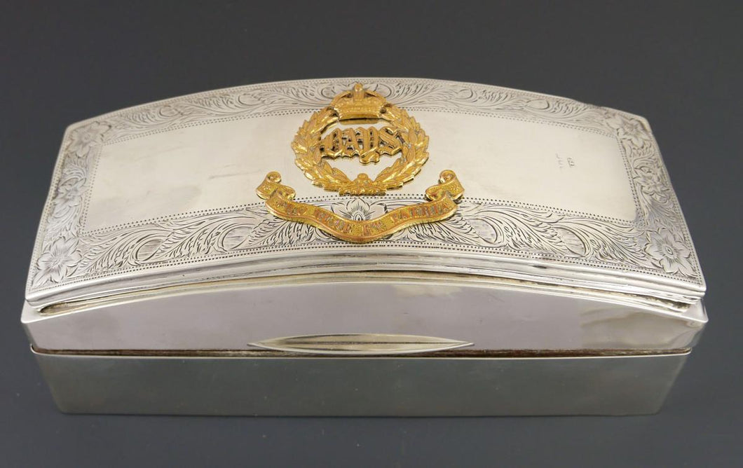 2nd Dragoon Guards (Bays) - A George VI Officer's Silver Pouch Flap Box, 1938