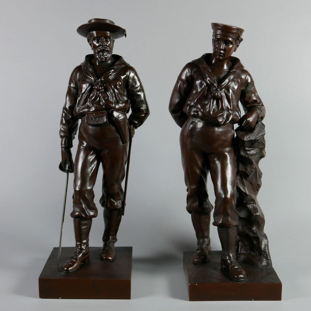 H.M.S. Excellent - A Pair of Naval Brigade Bronze Figures, 1900